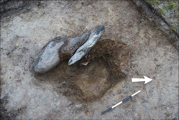 An excavated stone socket from Waun Mawn. Archaeologists looked for tiny differences in soil color, texture, ...