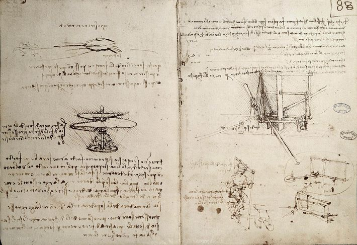 Leonardo da Vinci filled his notebooks with sketches of inventions, including flying machines.