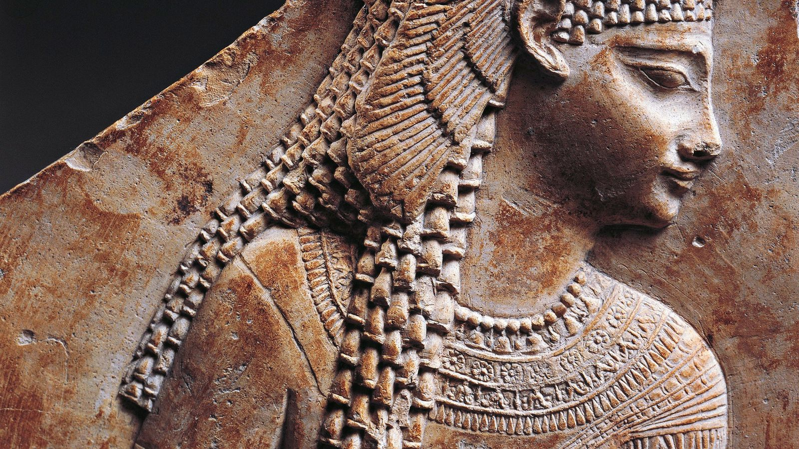 A portrait of Cleopatra emphasizes her Egyptian headdress. Though the Ptolemaic dynasty descended from a Macedonian ...