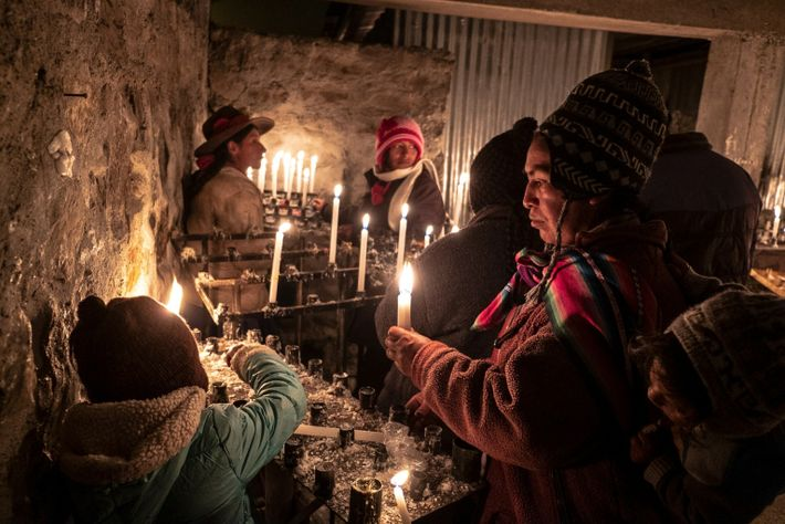 With religious prayers, which combine Quechua and Spanish, pilgrims and dancers make their requests by lighting ...
