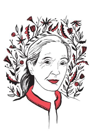 Illustratie van Jane Goodall door Kimberly Glyder, voor het boek In Praise of Difficult Women.