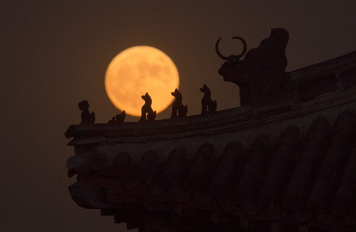 Small sculptures on a tower in China's Forbidden City stand silhouetted against the November 2016 supermoon.