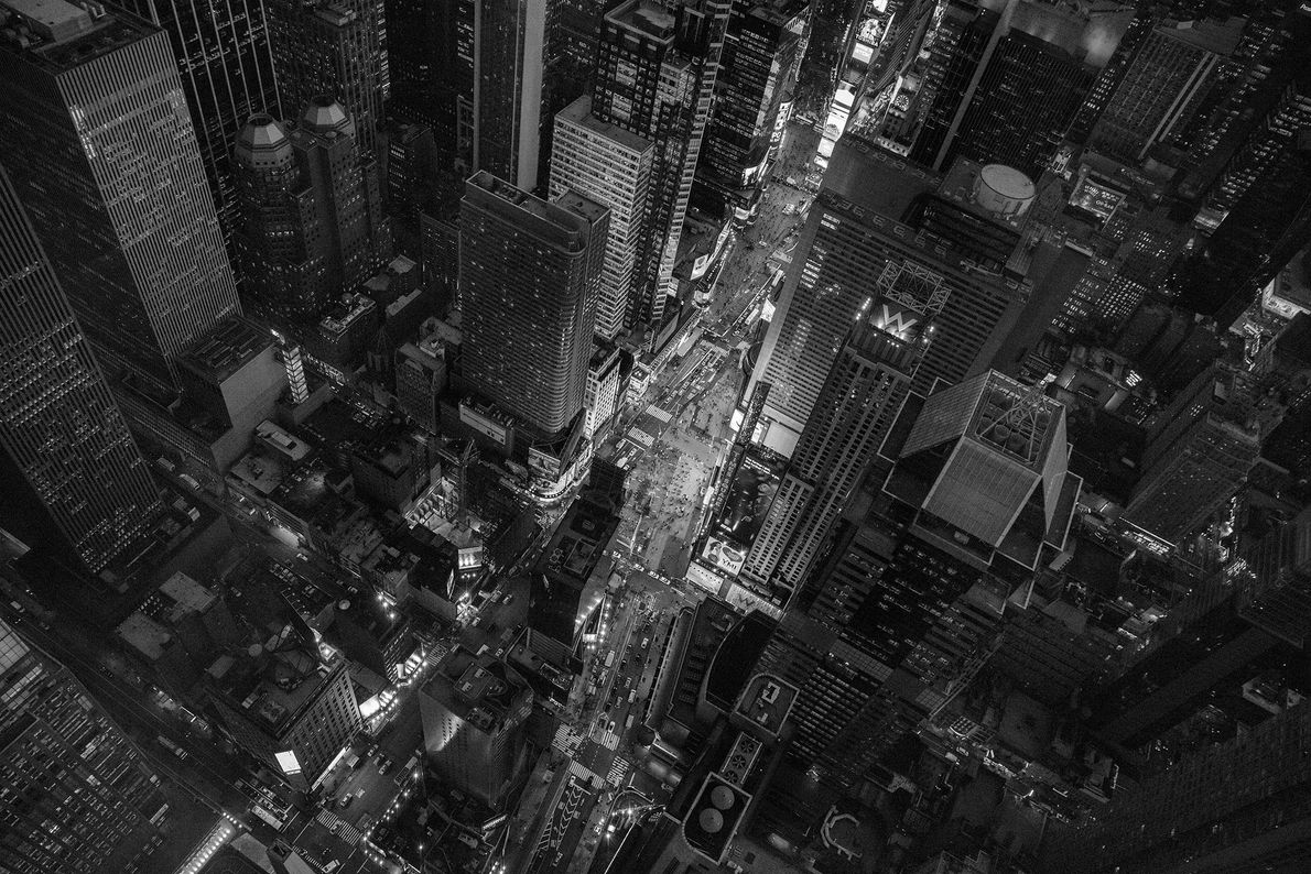 Luchtfoto van Times Square in New York City