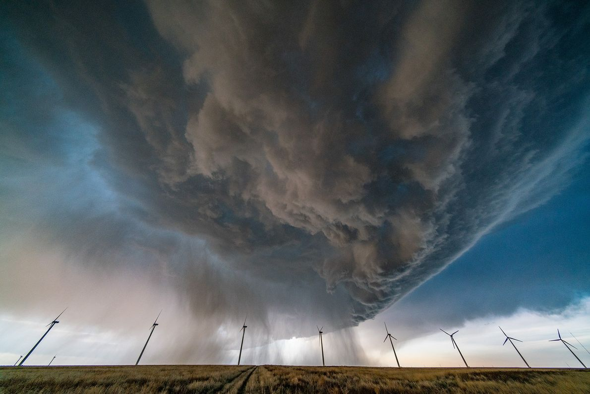 Picture of a storm cloud over a wind farm in Colorado