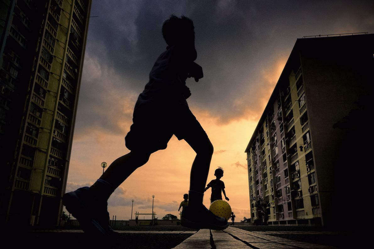 Picture of children playing ball in Hong Kong