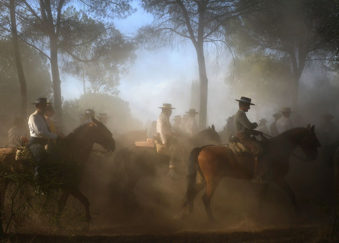 Picture of people on horseback making a religious pilgrimage