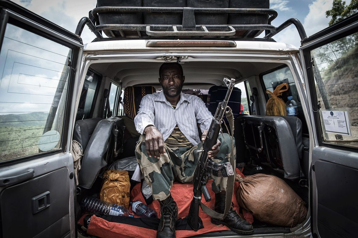Picture of a park ranger in Mago National Park in Ethiopia