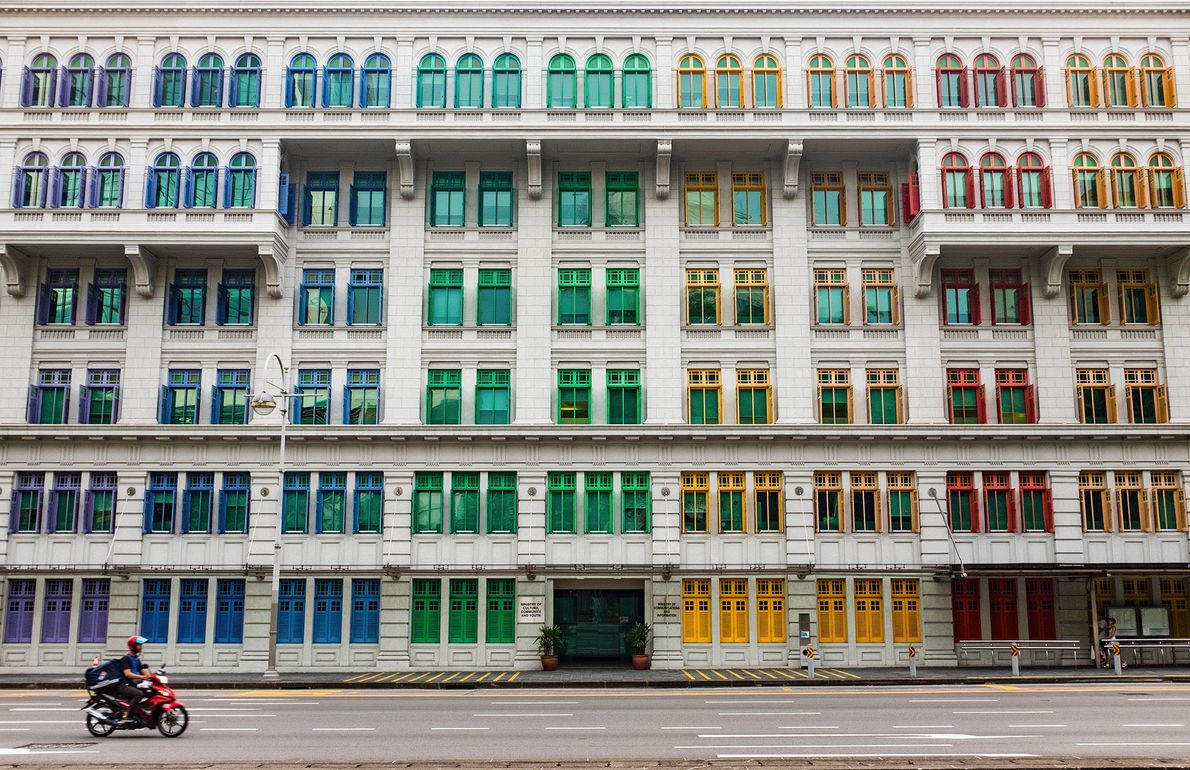 Picture of colorful windows on a building in Singapore