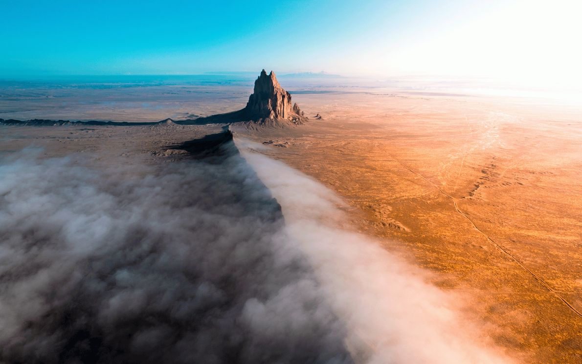 Picture of the Shiprock formation from above
