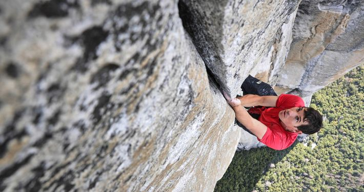Alex Honnold free solo climbing upper pitches Freerider