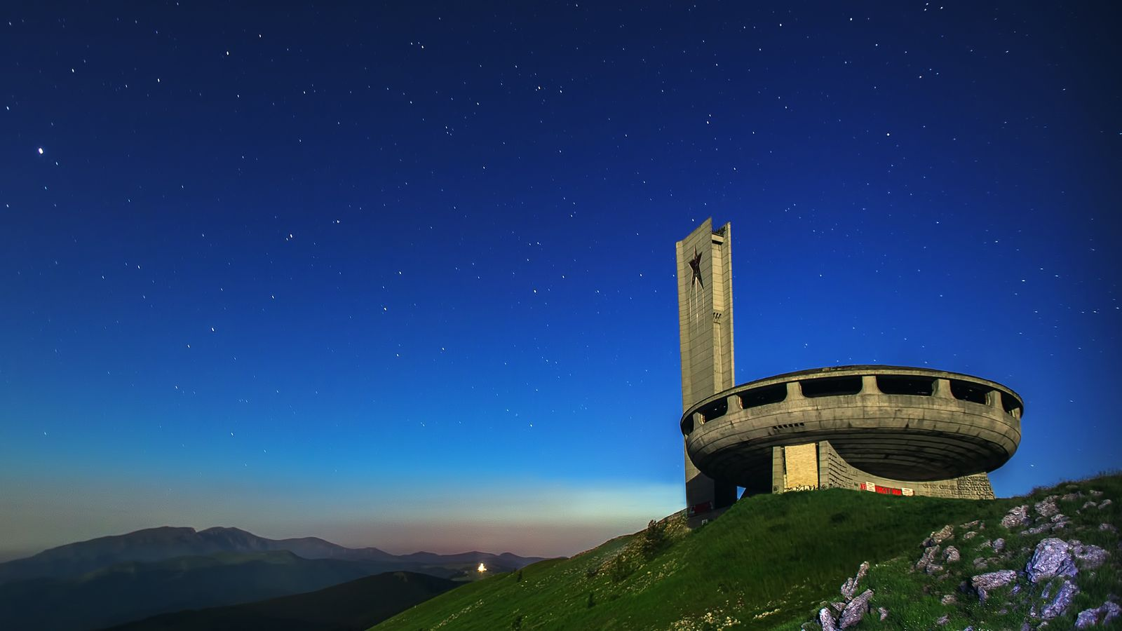 Buzludzha hovers on a historical peak in the Balkan Mountains of Bulgaria.