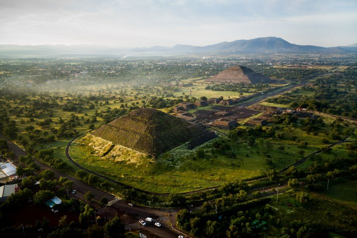 Ariel view of Solar and Lunar Pyramids at Teotihuacan