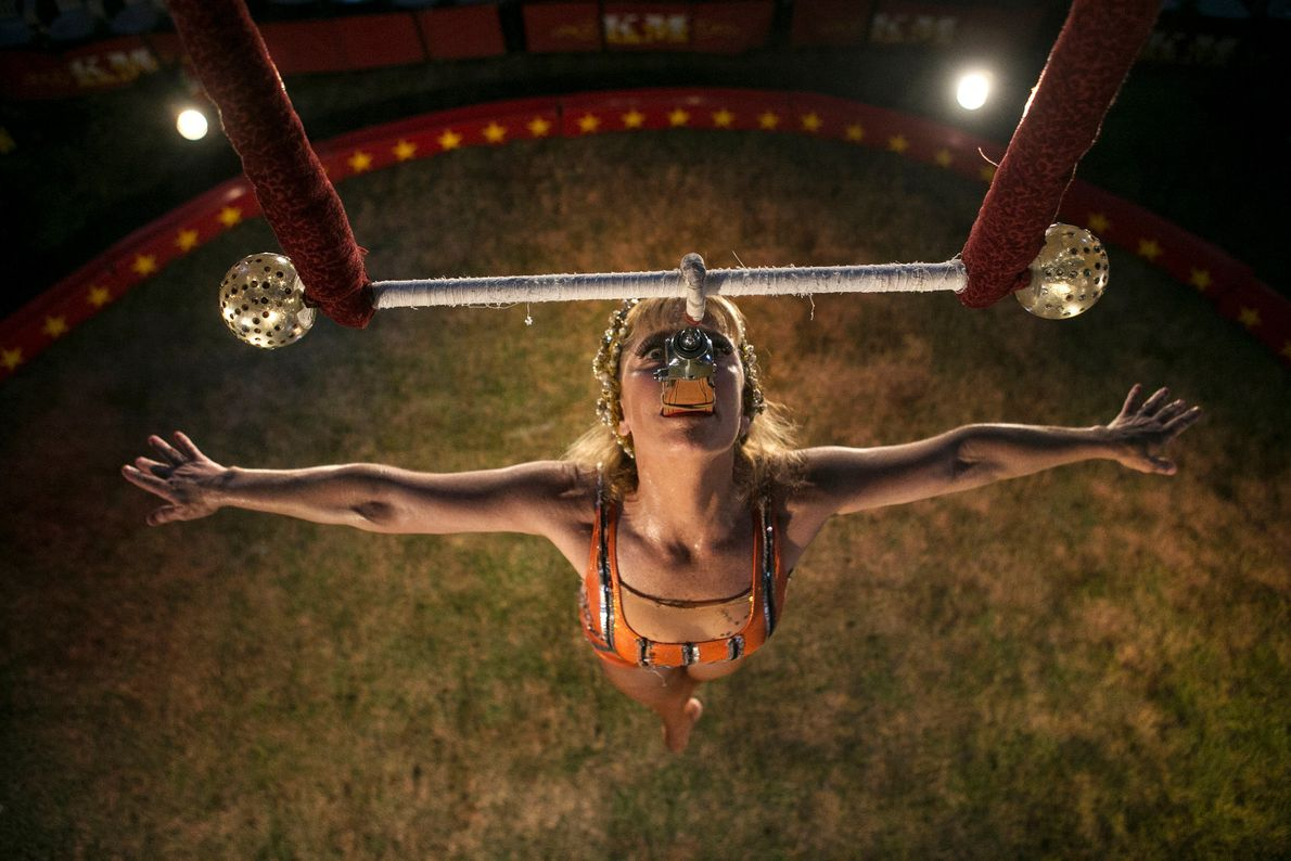 Rebecca Ostroff of the Kelly Miller Circus is one of the few aerialists who can perform ...