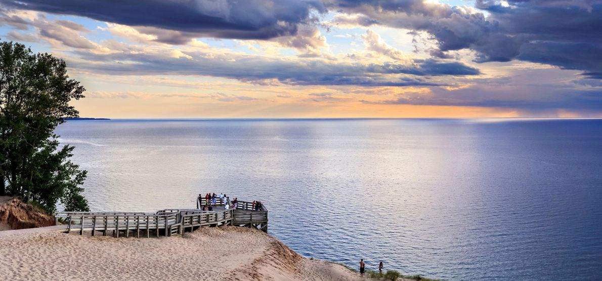 Gezicht op het landschap van de Sleeping Bear Dunes National Lakeshore, Michigan